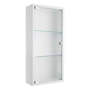 Gedy - Wall Unit With One Reversible Door and Two Glass Shelves in Mat White Finish - A sensible complimentary piece for a quality or contemporary bath, this wall storage cabinet is the perfect option.
