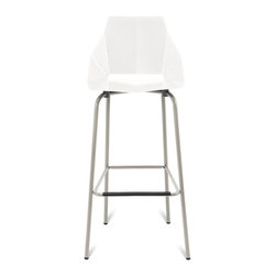 Blu Dot - Blu Dot Real Good Barstool, White / Grey - Thin is in. Powder-coated steel ships flat and folds along laser-cut lines to create a dynamic and comfortable chair. As skinny as a supermodel yet far more sturdy. Available in aqua, ivory and white with gray legs or two glossy tone-on tone colors: satin black or humble red. Also available in copper.Powder-coated steel seat & back, Painted carbon steel legs