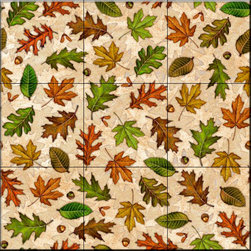 The Tile Mural Store (USA) - Tile Mural - Fall Leaves   - Kitchen Backsplash Ideas - This beautiful artwork by Dan Morris has been digitally reproduced for tiles and depicts an autumn leaf collage.  With our enormous selection of tile murals of plants and flowers you can bring your kitchen backsplash tile project to life. A decorative tile mural with plants and flowers is an impressive kitchen backsplash idea and decorative flower tiles also work great in the bathroom. Add splashes of color and life to your tile project with images of flowers on tiles and tiles with pictures of plants.