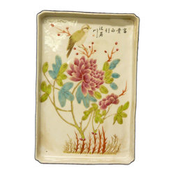 Golden Lotus - Chinese Color Scenery Porcelain Rectangular Tray Plate Flowers - This is a decorative tray shape plate in rectangular shape. The surface is handpainted with oriental scenery.