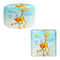 DiaNoche Designs - Ottoman Foot Stool by Tooshtoosh - Fly Giraffe Fly - Lightweight, artistic, bean bag style Ottomans. You now have a unique place to rest your legs or tush after a long day, on this firm, artistic furtniture!  Artist print on all sides. Dye Sublimation printing adheres the ink to the material for long life and durability.  Machine Washable on cold.  Product may vary slightly from image.