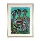 Lost Art Salon - Original Framed Mid Century Abstracted Oil Figures - Though the artist is unknown, this midcentury oil on paper makes a remarkable addition to your collection. There's depth and dynamism to this colorful abstract trio that will charm the viewer wherever you hang it.