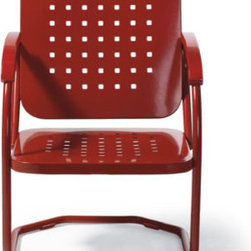 Grandin Road - Retro Squares Spring Chair - Classic outdoor spring chair with a retro look and feel. Heavy-gauge steel construction. Durable all-weather powdercoat finish. Some assembly required. Add an extra layer of comfort with our custom-made Outdura® cushion (sold separately). Rock your way back in time, with mid-century inspired style: our Retro Squares outdoor spring chair offers timeless charm paired with contemporary comfort and smooth springing action. Each is crafted from quality, heavy-gauge steel with a bright powdercoat finish. So there's no time like the present to select your favorite color, and soon you'll be relaxing on your porch or patio with friends and neighbors in classic comfort and style.  .  .  .  . Add an extra layer of comfort with our custom-made Outdura cushion (sold separately) . The perfect addition to the Retro Squares Outdoor Furniture Collection .