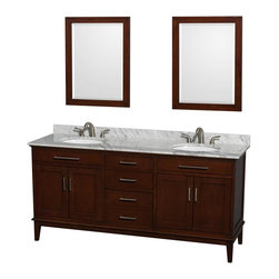Wyndham Collection - Eco-Friendly Double Sink Bathroom Vanity Set - Includes white Carrera marble countertop with backsplash, two undermount oval porcelain sinks and two mirrors. Faucets not included. Transitional style. 8 in. widespread three hole faucet mount. Four functional doors. Three functional deep doweled drawers. Single faucet hole mount. 12-stage wood preparation, sanding, painting and hand finishing process. Highly water-resistant low V.O.C. sealed finish. Plenty of storage and counter space. Practical floor standing design. Fully extending under-mount soft-close drawer slides. Concealed soft-close door hinges. Metal exterior hardware in brushed chrome. Engineered to prevent warping and last lifetime. 1.25 in. mirror thickness. Made from zero emissions solid birch hardwood. Dark chestnut finish. Mirror: 24 in. W x 31.75 in. H. Countertop: 72 in. W x 22 in. D x 0.75 in. H. Backsplash: 72 in. W x 0.75 in. D x 3.25 in. H. Vanity: 70.75 in. W x 21.5 in. D x 34.25 in. H. Vanity with countertop: 72 in. W x 22 in. D x 35 in. H. Warranty. Care Instructions. Vanity Installation Instructions. Mirror Installation Instructions. Counter Handling InstructionsBring feeling of texture and depth to your bath with the gorgeous Hatton vanity series. Contemporary classic for the most discerning of customers. The Wyndham Collection is entirely unique and innovative bath line. Sure to inspire imitators, the original Wyndham Collection sets new standards for design and construction.