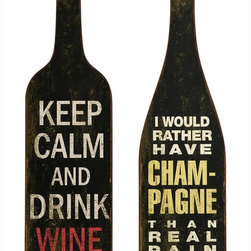 "Imax Worldwide Home - Lasalle Wine And Champagne Wall Decor - Set of 2 - The Lasalle Wine and Champagne Wall Decor expounds on the appeal of this vintage flavored wall art. Expertly crafted, this set of drinking lore will add a charming vibe to your space with a hint of rustic texture. Set of 2.; Country of Origin: China; Weight: 1.87 lbs; Dimensions: 31.5-32.75""h x 9.5""w"