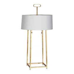 Worlds Away - Mondo Gold Leaf Lamp - Gold leaf iron lamp with pull chain. 16.5 dia white shade with gold foil lining.