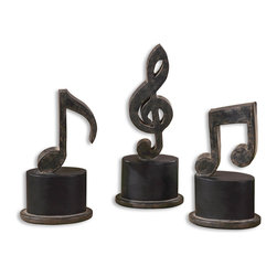 Uttermost - Uttermost 19280 Music Notes Metal Figurines Set of 3 - Uttermost 19280 Music Notes Metal Figurines Set of 3
