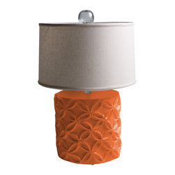 """Stray Dog Designs - Stray Dog Designs Katie Pumpkin Blush Table Lamp - Eco-friendly with a feminine touch, the Katie lamp's geometric flowers in relief are offset by its white linen shade. This chunky table lamp in bright Pumpkin Blush adds a pop of color to a living room or bedroom. 18"""" Dia. x 28""""H; Papier-mache; White linen drum shade; Glass finial; Handcrafted by artisans from recycled materials; Finished with low VOC paint; Accepts 75W bulb (not included)"""
