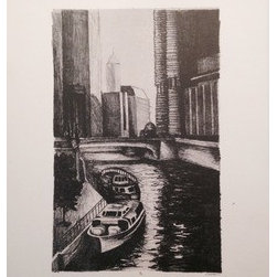 """Purple River"" (Original) By Jianna Mirabelli - This Was My First Lithograph Print. The Image Is Of The Chicago River. I Remember Seeing This City Landscape Every Time I Went Into The City With Family, School, Or Friends. I Always Thought It Was So Beautiful The Way The Building Reflected In The Water While The Sun Shined Against Them."