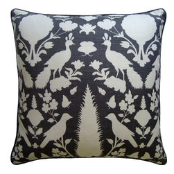 Ryan Studio - Chenonceau Charcoal Pillow - It's nature motif makes this pillow fit just about any space from traditional to contemporary.