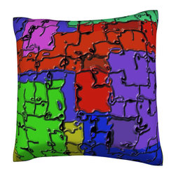 Custom Photo Factory - Melting Mosaic Pillow.  Polyester Velour Throw Pillow - Melting Mosaic Pillow. 18 Inches x 18  Inches.  Made in Los Angeles, CA, Set includes: One (1) pillow. Pattern: Full color dye sublimation art print. Cover closure: Concealed zipper. Cover materials: 100-percent polyester velour. Fill materials: Non-allergenic 100-percent polyester. Pillow shape: Square. Dimensions: 18.45 inches wide x 18.45 inches long. Care instructions: Machine washable