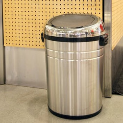 iTouchless IT18RC Trashcan NX Stainless Steel Trash Can - The iTouchless IT18RC Trashcan NX Stainless Steel Trash Can is a commercial-size touchless trash can that prevents cross-contamination and makes cleaning much easier. This hands-free trash can uses the AI Smart-Chip II technology to open the lid when it detects movement within 6 inches and it has the capacity to hold either an 18-gallon or 23-gallon garbage bag. The NX trash can is constructed from durable stainless steel with a brushed silver finish. Four wheels allow for easy transportation. Uses 4 D-size batteries (not included) with an optional AC power adapter. 18-gallon dimensions: 19.25L x 17.75W x 26H inches. 23-gallon dimensions: 19.25L x 17.75W x 31H inches.About iTouchlessiTouchless Housewares & Products creator of the Touchless Trashcan EZ Faucet and Towel-Matic manufactures and distributes a line of innovative products for your home and office. Their mission: to make people's lives a little easier by using their products. Over the last 15 years iTouchless has established a solid foundation and assembled multiple factories in Asia to support the increasing demand of sensor-activated products. Their vision for the future is to create a continuous stream of customer-driven innovations while selecting strategic partners and distributors to form mutually beneficial relationships.