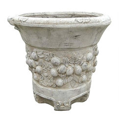 EttansPalace - European Garden Classical Fruit Urns: Grande - If we didn't know better, we'd bet our last dollar that these substantial quality designer resin pieces came straight from a estate on the outskirts of Paris! Instead, their classically aesthetic European features are hand-painted in a faux antique stone finish to simulate a history and character all their own. If the look you're after is that of an authentic European garden, these magnificent exclusive antique reproductions are just what you've been hoping for and will lend architectural elegance to home or garden. Our heavyweight, statuesque resin urns can certainly stand alone, but look especially stunning when grouped for maximum effect.