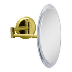 "Lamps Plus - Contemporary Brass Dual-Jointed Wall Mounted Magnified Mirror - Wall mounted mirror. Brass finish. Offers 5x magnification. Dual-jointed arm.  10 1/2"" extension. Mirror is 9"" round. 10 3/4"" wide. 9 1/2"" high. 3"" deep.         Wall mounted mirror.  Brass finish.  Offers 5x magnification.  Dual-jointed arm.   10 1/2"" extension.  Mirror is 9"" round.  10 3/4"" wide.  9 1/2"" high.  3"" deep."