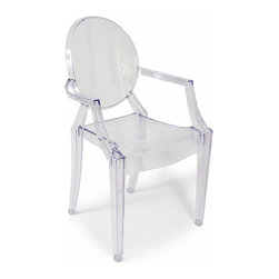 Stilnovo Clear Acrylic Ghost Chair - Twenty-first Century materials in the Louis XV style--the Ghost chair is a comfortable, transparent polycarbonate armchair that proves you can combine classic baroque with innovative, modern design. It is also shock, scratch, and weather resistant--a durable and enduring selection.
