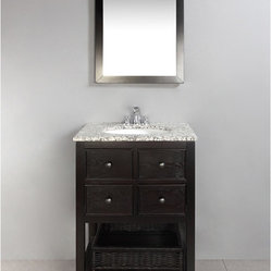 New Haven Espresso Brown 24-inch Bath Vanity with 2 Drawers and Dappled Grey Gra