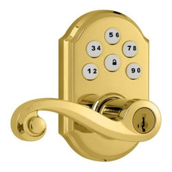 Kwikset - Kwikset Polished Brass Lever Deadbolt - The SmartCode Lever with Home Connect Technology featuring Z-Wave enables the door lock to wirelessly communicate with other devices in home. The lock allows the user through a web enabled device to remotely check the door lock status, lock or unlock the d The perfect solution for home office, storage room, or interior garage door where the security of a deadbolt is not required
