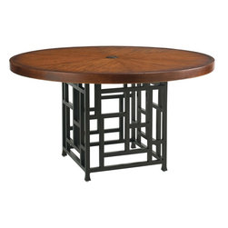 Lexington - Tommy Bahama Ocean Club Resort Round Dining Table Base - The open grid pattern creates an airy yet very sturdy base for the 54-inch round weather stone top. The sundrenched sienna coloration of the table top over the darker metal of the table base creates a harmonizing balance.