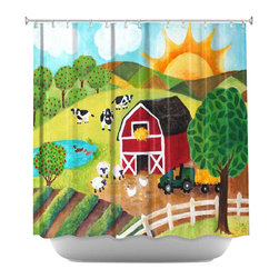 DiaNoche Designs - Shower Curtain Artistic - Daybreak on the Farm - DiaNoche Designs works with artists from around the world to bring unique, artistic products to decorate all aspects of your home.  Our designer Shower Curtains will be the talk of every guest to visit your bathroom!  Our Shower Curtains have Sewn reinforced holes for curtain rings, Shower Curtain Rings Not Included.  Dye Sublimation printing adheres the ink to the material for long life and durability. Machine Wash upon arrival for maximum softness on cold and dry low.  Printed in USA.