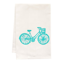 "artgoodies - Organic Block Print Blue Bike Tea Towel - This high quality 100% certified organic cotton tea towel was custom made just for artgoodies! Hand printed with one of my original linocut block print images it measures 20""x28"" and comes wrapped in a green ribbon made from 100% recycled plastic bottles! Nice and absorbent for drying dishes, looks great when company is over, and makes a great housewarming gift!"