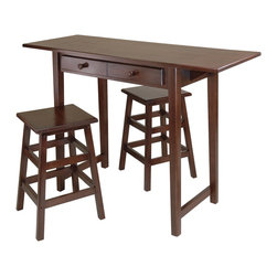 "Winsome Wood - Winsome Wood Mercer Double Drop Leaf Table with 2 Stools X-83304 - This is a perfect breakfast or island table for your kitchen or game room.  Table features a double drop leaf extension for extra surface, two drawers for storage and two 21.4""H Stools .  Fully extended table top is 49.76""W x 17.99""D, without leaf table top is 34""W x 17.99""D.  Each drawer inside dimension is 9.84""W x 11.42""D x 1.97""H.  Size of each stool is 14.17""W x 14.17""D x 21.42""H.  Made of combination of solid and composite wood in Cappuccino finish.  Assembly Required."