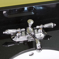 Simsbury Centerset Faucet - Lever Handles - Chrome - Metal lever handles, a premium finish, and a curvaceous spout make this lavatory faucet both stylish and useful. The Simsbury lavatory faucet is the ideal finishing touch for your small vanity top or pedestal sink.