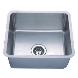 "Dowell - Dowell 19"" x 17"" Undermount Small-Radius Corner Single Bowl Sink - 18 Gauge, 304 Series Stainless Steel"