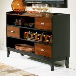 Coaster - Boyer Collection Server in Black / Cherry - The Boyer collection will be a lovely addition to your casual contemporary home. Made from select hardwood and birch veneers in a butterfly pattern. Finished in black and cherry. Server features 3 storage drawers and wine bottle storage.