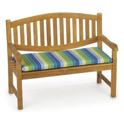 Outdoor Rectangular Bench Cushion, Seaside Seville - These pretty colors would look great on my patio. Adding outdoor pillows and cushions can make the space cozy and inviting.