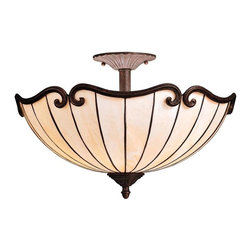 Kichler - Kichler Clarice Semi-Flush Mount Ceiling Fixture in Gold - Shown in picture: Kichler Semi Flush 2Lt in Tannery Bronze w/ Gold Accent