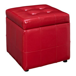 Modway Furniture - Modway Volt Storage Ottoman in Red - Storage Ottoman in Red belongs to Volt Collection by Modway The square shape evokes feelings of security and reliance in this compact accent piece you can count on. The Volt ottoman stands ready as a footrest, while the lined storage compartment works great for both regular use, and for a swift run-through before last minute visitors. Volt's boxy design creates a dashing addition to your agile decor. Set Includes: One - Volt Ottoman Ottoman (1)