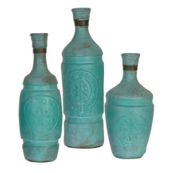 "Uttermost - Jalanili Mint Green Vases - Set of 3 - Made Of Terracotta, This Vases Feature A Mint Green Finish With Copper Accents. Sizes: Sm-5x10x5, Med-4x12x4, Lg-4x13x4. Uttermost's Vases, Urns & Finials Combine Premium Quality Materials With Unique High-style Design. Overall Dimensions: 4""D x 4""W x 13""H"