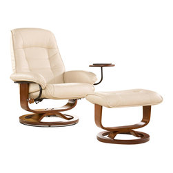 """Holly & Martin - Hemphill Leather Recliner and Ottoman in Taup - Set includes recliner with attached side table & ottoman. Mechanism-glide system with position lock. 360� Swivel recliner. Ottoman does not rotate. Solid all wood chair base. All birch hardwood true """"U"""" upgraded designer base. Constructed of birch hardwood, bonded leather, foam and metal. 1 Year warranty against manufacturer defects. Assembly required. Weight capacity: 300 lbs.. Attached table: 11 in. across. Chair base: 24.5 in. across. Ottoman base: 18 in. across. Ottoman: 21.5 in. W x 16.75 in. D x 16.5 in. H. Seat: 21 in. W x 28 in. H. Recliner: 28.5 in. W x 26 in. D x 40 in. HBecome familiar with the concept of luxury as this recliner and ottoman set is all about rich, traditional elegance and modern superiority. This reclining chair and matching ottoman merges the ease of reclining with the comfort of luxurious bonded leather for a perfect end-of-day reward. As a bonus, this set comes with a smooth sliding side table that offers a handy spot for holding a beverage or storing a remote. So go ahead and put your feet up with this ergonomically designed recliner and ottoman set; you'll want one for every room."""
