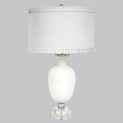 Belle & June - Traditional Lamp-White - The traditional white opaque lamp features a solid white shade  with sweet fruffle trim. This neutral lamp fits in with nearly any decor and would look pretty in a girls bedroom, nursery or guest bedroom.