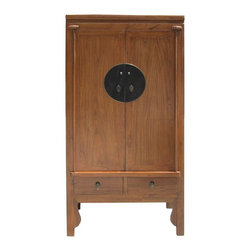 "Golden Lotus - Chinese Light Brown Tall Armoire Dresser Cabinet - Dimensions:  w39.25"" x d22.5"" x h78"""