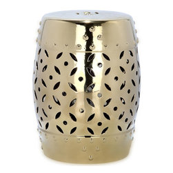 Safavieh - Gold Lattice Coin Garden Stool ACS4510D - East meets West in the Lattice Coin Garden Stool. With classic Chinese drum shape, coin motif and faux nailhead detailing inspired by ancient water vessels, this ceramic stool with elegant gold glaze is fashion right for any decorating style from traditional to transitional.