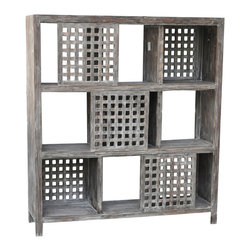 """Crestview - Crestview CVFZR299 Rustic Wall Unit - Rustic Wall Unit Solid Wood Wall Unit in Rustic Wood Finish END OF MAY DELIVERY 54"""" x 16"""" x 60"""""""