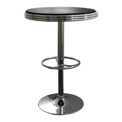 New Buffalo Corp. - AmeriHome Soda Fountain Style Bar Table - Black - The retro AmeriHome Soda Fountain Style Bar Table adds a classic design to the kitchen, bar, game room, basement, or shop. The bar table has the retro style reminiscent of the days of diners and drive-ins, and features a polished chrome base that is accented with a black vinyl top for a hint of classic vintage design.