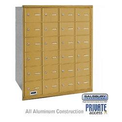 Salsbury Industries - 4B+ Horizontal Mailbox - 24 A Doors - Gold - Rear Loading - Private Access - 4B+ Horizontal Mailbox - 24 A Doors - Gold - Rear Loading - Private Access