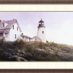 Amanti Art - Gulls at Pemaquid Framed Print by Ray Hendershot - Lighten the mood of your decor with this peaceful oceanside scene by artist Ray Hendershot. This lovely print depicts a lighthouse in Maine, and comes in a rustic distressed wood frame.