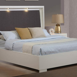 "Coaster - Jessica California King Bed - We have expanded the popular Jessica bedroom collection! This exquisite design features two adjustable dimming LED lights under the high grey padded fabric headboard. The Jessica collection is crafted from solid wood and veneers in a white finish. The collection features full extension drawers dove tailing and solid wood drawer box construction. Collection: Jessica; Style: Contemporary; Finish/Color: White Finish; Dimming LED lighting; Box Spring Foundation not required; Dimensions: 92.50""L x 78.50""W x 58.75""H"