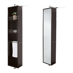 Wyndham Collection - Claire Linen Tower & Rotating Floor Cabinet with Full-Length Mirror in Espresso - The Claire rotating wall cabinet with mirror takes modern looks and bathroom storage to the next level with its clever design. Featuring a space-saving design which rotates 360 degrees this cabinet combines a full length mirror on one side with three large storage spaces and integrated towel racks on the other. This unit mounts to the floor and wall and metal mounting hardware is included.