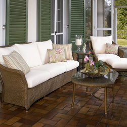 Weekend Retreat Collection - Weekend Retreat Sofa and Lounge Chair by Lloyd Flanders. Outdoor Wicker.