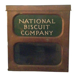 National Biscuit Tin Box - Great old advertising tin box with glass front, straight from an old general store in upstate New York. Used to sell biscuits when Nabisco had its original name!