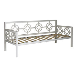 None - Medallion Marshmallow White Twin Daybed - This versatile Medallion Twin Daybed features a classic design that fits in perfectly with any decor. This deep daybed provides ample seating and sleeping space and has plastic leg glides to protect floors from being scratched.