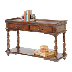 Liberty Furniture - Sofa Table w 2 Drawers - One storage shelf. Beaded molding. Complimentary bail hardware. Turned leg with tapered foot. Warranty: One year. Made from select hardwoods and oak veneers. Multi-step hand applied glazed cherry finish. 48 in. W x 17 in. D x 31 in. H (79 lbs.)