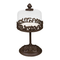"Gracious Goods GG - GG Collection Bronze Footed Cake Stand with Dome Small - Rise to the occasion with a cake stand that turns even store bought pastries or fruit into something spectacular! A cream colored chip resistant stoneware plate rests on the stand and is topped with a sparkling glass dome. The glass dome features a removable decorative metal finial that serves as the knob for lifting. Delight your hostess by presenting her with this magnificent cake stand or treat yourself or your loved one!   * Dimensions: D: 7.5"" H: 14""  * The ceramic plate is detachable, dishwasher, oven and microwave safe  * See items GG92623 and GG92624 for alternate sizes"