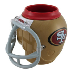 Zeckos - NFL San Francisco 49ers Helmet Shaped Can, Bottle Cooler Fan Mug - This helmet-shaped can, bottle holder, or mug is the perfect gift for any San Francisco 49ers fan It measures 5 inches high and approximately 5 1/2 inches in diameter. It keeps drinks hot or cold, and the 13.5 ounce removable cup is BPA free and dishwasher safe. The facemask is the handle, and it accommodates most 12 ounce bottles or cans or your favorite beverage. The mug is also suitable for use as a pencil cup at home or in the office. This product is officially licensed by the NFL.