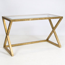 Mark Gold Leaf Desk - Gold and glamorous, this is such a stunning desk! This piece also comes in polished nickel for an ooh-la-la look.