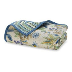 Scent-sation, Inc. - Lagoon Quilt - This whimsical bedding has tropical images of palm trees and sea life accented with stripes in shades of blue and green on a sandy beige background. A great way to add color and excitement to your decor.